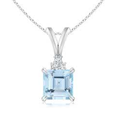 V-Bale Square Aquamarine Solitaire Pendant with Diamond