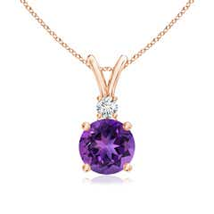 V-Bail Round Amethyst Solitaire Pendant with Diamond