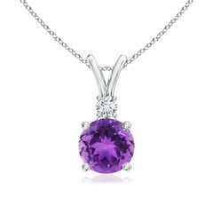 Round Amethyst Solitaire V-Bale Pendant with Diamond