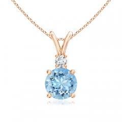 V-Bail Round Aquamarine Solitaire Pendant with Diamond