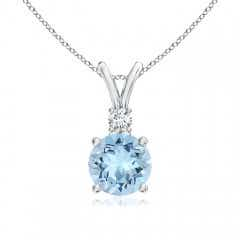 Round Aquamarine Solitaire V-Bale Pendant with Diamond