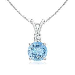 V-Bail Round Aquamarine Solitaire Pendant with Diamond