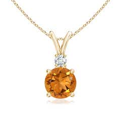 Round Citrine Solitaire V-Bale Pendant with Diamond