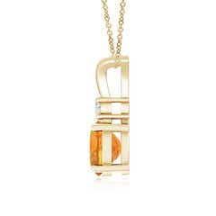 Toggle Round Citrine Solitaire V-Bale Pendant with Diamond