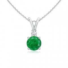 Round Emerald Solitaire V-Bale Pendant with Diamond
