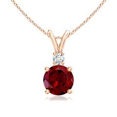 Round Garnet Solitaire V-Bale Pendant with Diamond