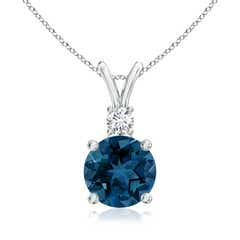 Round London Blue Topaz Solitaire Pendant with Diamond