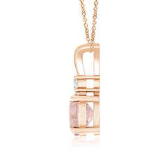Toggle Round Morganite Solitaire V-Bale Pendant with Diamond