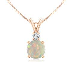 V-Bail Round Opal Solitaire Pendant with Diamond