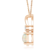 Toggle Round Opal Solitaire V-Bale Pendant with Diamond