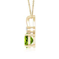 Toggle Round Peridot Solitaire V-Bale Pendant with Diamond