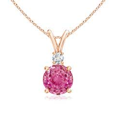 V-Bail Round Pink Sapphire Solitaire Pendant with Diamond