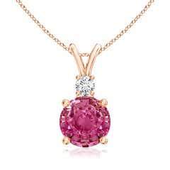 Round Pink Sapphire Solitaire V-Bale Pendant with Diamond