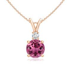 V-Bail Round Pink Tourmaline Solitaire Pendant with Diamond