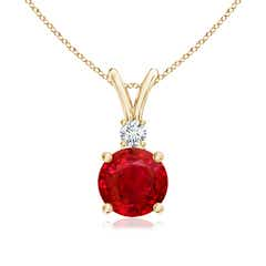 V-Bail Round Ruby Solitaire Pendant with Diamond