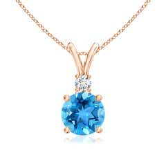 Round Swiss Blue Topaz Solitaire V-Bale Pendant with Diamond
