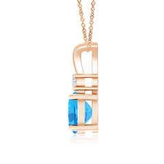 Toggle Round Swiss Blue Topaz Solitaire V-Bale Pendant with Diamond