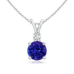 Round Tanzanite Solitaire V-Bale Pendant with Diamond