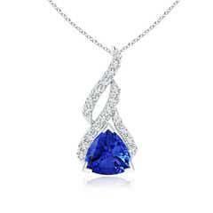 Trillion Tanzanite Solitaire Pendant with Diamond Swirl