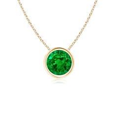 Bezel Set Round Emerald Solitaire Pendant