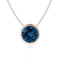 Bezel-Set Round London Blue Topaz Solitaire Pendant