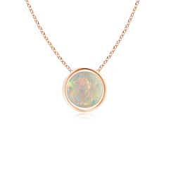 Bezel Set Round Opal Solitaire Pendant