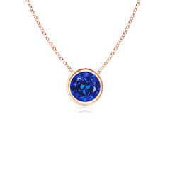 Bezel Round Lab created Sapphire Solitaire Pendant