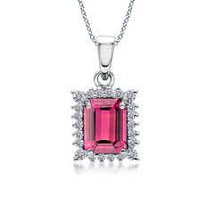 Vintage Diamond Halo Emerald Cut Pink Tourmaline Pendant