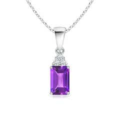 Emerald-Cut Amethyst Pendant with Diamond Trio