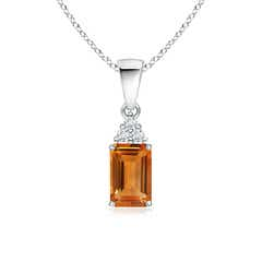 Emerald-Cut Citrine Pendant with Diamond Trio