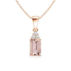 Prong Set Emerald Cut Morganite Pendant with Diamonds
