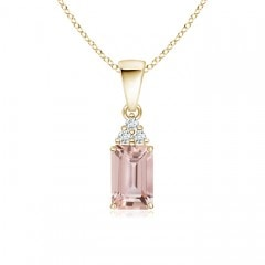 Prong Set Emerald Cut Morganite Pendant with Diamonds