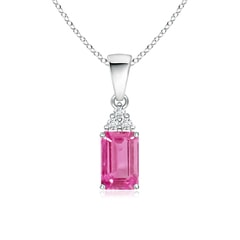 Emerald-Cut Pink Sapphire Pendant with Diamond Trio