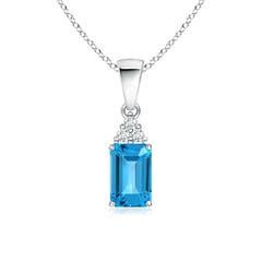 Emerald-Cut Swiss Blue Topaz Pendant with Diamond Trio