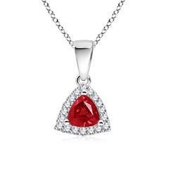 Trillion Shaped Ruby and Diamond Halo Dangle Pendant