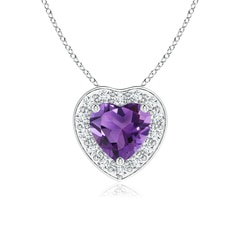 Heart-Shaped Amethyst Pendant with Diamond Halo