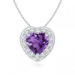 Pave-Set Diamond Halo Heart Shaped Amethyst Pendant