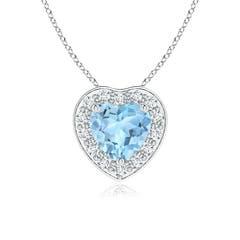Heart-Shaped Aquamarine Pendant with Diamond Halo