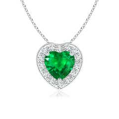Pave-Set Diamond Halo Heart Shaped Emerald Pendant