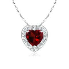 Heart-Shaped Garnet Pendant with Diamond Halo