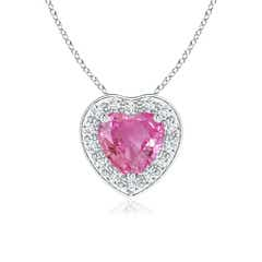 Pave-Set Diamond Halo Heart Shaped Pink Sapphire Pendant