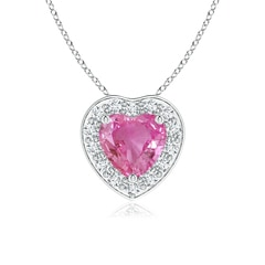 Heart-Shaped Pink Sapphire Pendant with Diamond Halo