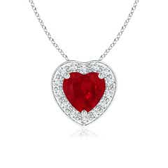 Pave-Set Diamond Halo Heart Shaped Ruby Pendant