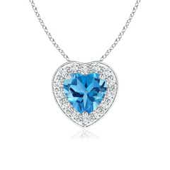 Heart-Shaped Swiss Blue Topaz Pendant with Diamond Halo