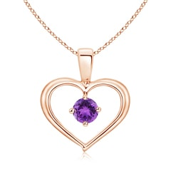 Solitaire Round Amethyst Open Heart Pendant