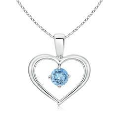 Solitaire Round Aquamarine Open Heart Pendant