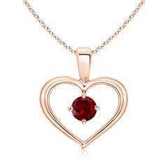 Solitaire Round Garnet Open Heart Pendant
