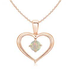 Solitaire Round Opal Open Heart Pendant