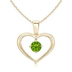 Solitaire Round Peridot Open Heart Pendant
