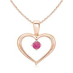 Solitaire Round Pink Sapphire Open Heart Pendant